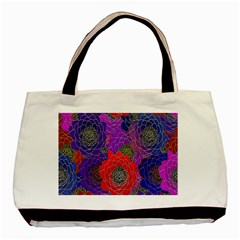 Colorful Background Of Multi Color Floral Pattern Basic Tote Bag