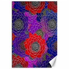 Colorful Background Of Multi Color Floral Pattern Canvas 12  x 18