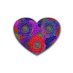 Colorful Background Of Multi Color Floral Pattern Rubber Coaster (Heart)