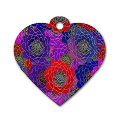 Colorful Background Of Multi Color Floral Pattern Dog Tag Heart (One Side)