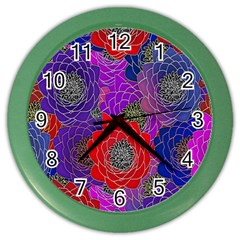Colorful Background Of Multi Color Floral Pattern Color Wall Clocks