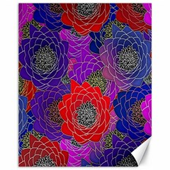 Colorful Background Of Multi Color Floral Pattern Canvas 11  X 14