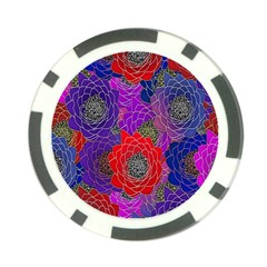 Colorful Background Of Multi Color Floral Pattern Poker Chip Card Guard