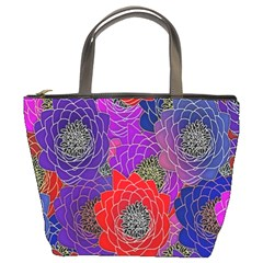 Colorful Background Of Multi Color Floral Pattern Bucket Bags