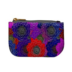 Colorful Background Of Multi Color Floral Pattern Mini Coin Purses