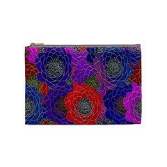 Colorful Background Of Multi Color Floral Pattern Cosmetic Bag (medium)