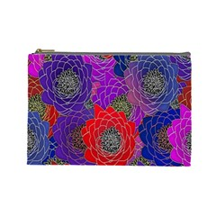 Colorful Background Of Multi Color Floral Pattern Cosmetic Bag (Large)
