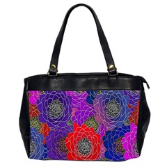 Colorful Background Of Multi Color Floral Pattern Office Handbags (2 Sides)