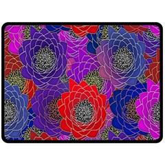 Colorful Background Of Multi Color Floral Pattern Fleece Blanket (Large)