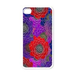 Colorful Background Of Multi Color Floral Pattern Apple iPhone 4 Case (White)