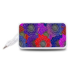 Colorful Background Of Multi Color Floral Pattern Portable Speaker (White)