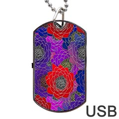 Colorful Background Of Multi Color Floral Pattern Dog Tag USB Flash (One Side)