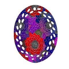 Colorful Background Of Multi Color Floral Pattern Oval Filigree Ornament (two Sides)