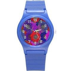 Colorful Background Of Multi Color Floral Pattern Round Plastic Sport Watch (S)