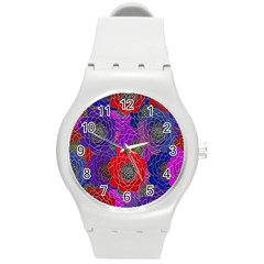 Colorful Background Of Multi Color Floral Pattern Round Plastic Sport Watch (M)