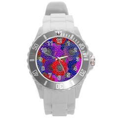 Colorful Background Of Multi Color Floral Pattern Round Plastic Sport Watch (l)