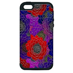 Colorful Background Of Multi Color Floral Pattern Apple Iphone 5 Hardshell Case (pc+silicone)
