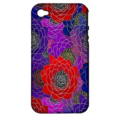 Colorful Background Of Multi Color Floral Pattern Apple iPhone 4/4S Hardshell Case (PC+Silicone)