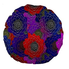 Colorful Background Of Multi Color Floral Pattern Large 18  Premium Round Cushions