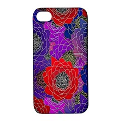 Colorful Background Of Multi Color Floral Pattern Apple Iphone 4/4s Hardshell Case With Stand