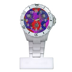 Colorful Background Of Multi Color Floral Pattern Plastic Nurses Watch