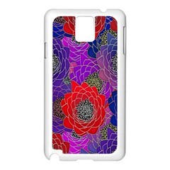 Colorful Background Of Multi Color Floral Pattern Samsung Galaxy Note 3 N9005 Case (White)