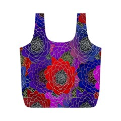 Colorful Background Of Multi Color Floral Pattern Full Print Recycle Bags (M)