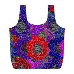 Colorful Background Of Multi Color Floral Pattern Full Print Recycle Bags (L)