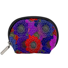 Colorful Background Of Multi Color Floral Pattern Accessory Pouches (Small)
