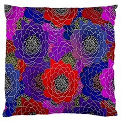 Colorful Background Of Multi Color Floral Pattern Large Flano Cushion Case (two Sides)