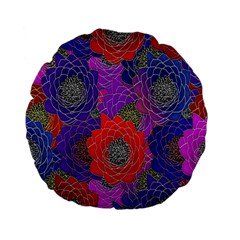Colorful Background Of Multi Color Floral Pattern Standard 15  Premium Flano Round Cushions