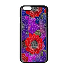 Colorful Background Of Multi Color Floral Pattern Apple Iphone 6/6s Black Enamel Case