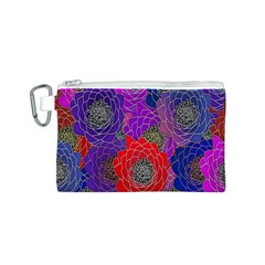 Colorful Background Of Multi Color Floral Pattern Canvas Cosmetic Bag (s)