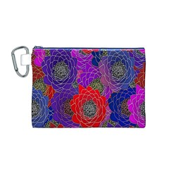 Colorful Background Of Multi Color Floral Pattern Canvas Cosmetic Bag (M)