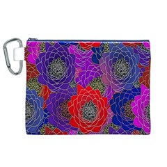 Colorful Background Of Multi Color Floral Pattern Canvas Cosmetic Bag (xl)