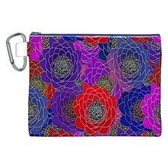 Colorful Background Of Multi Color Floral Pattern Canvas Cosmetic Bag (XXL)