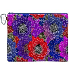 Colorful Background Of Multi Color Floral Pattern Canvas Cosmetic Bag (XXXL)