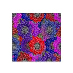 Colorful Background Of Multi Color Floral Pattern Satin Bandana Scarf
