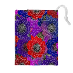 Colorful Background Of Multi Color Floral Pattern Drawstring Pouches (Extra Large)