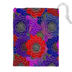 Colorful Background Of Multi Color Floral Pattern Drawstring Pouches (XXL)