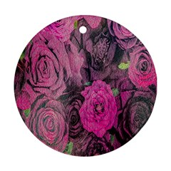 Oil Painting Flowers Background Ornament (Round)