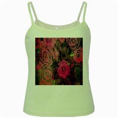 Oil Painting Flowers Background Green Spaghetti Tank