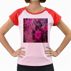 Oil Painting Flowers Background Women s Cap Sleeve T Shirt