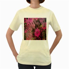Oil Painting Flowers Background Women s Yellow T Shirt