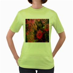Oil Painting Flowers Background Women s Green T-Shirt