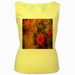 Oil Painting Flowers Background Women s Yellow Tank Top