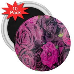 Oil Painting Flowers Background 3  Magnets (10 pack)