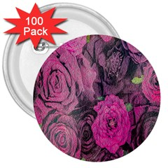Oil Painting Flowers Background 3  Buttons (100 Pack)