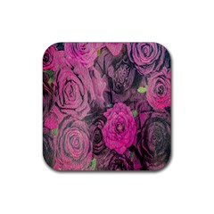 Oil Painting Flowers Background Rubber Coaster (square)