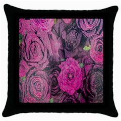Oil Painting Flowers Background Throw Pillow Case (black)
